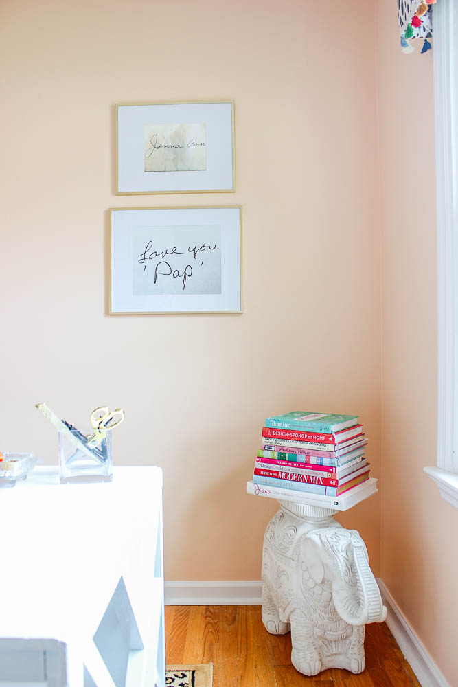Home Office Decor Ideas: Blow up loved one's handwriting from cards to use as art.