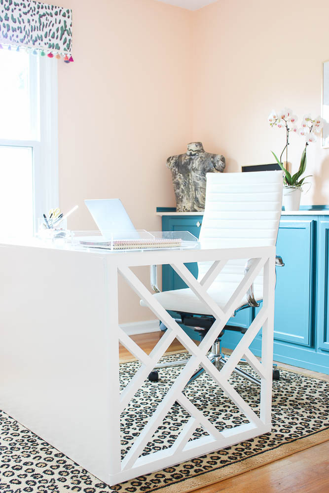 Home Office Makeover full of Budget-Friendly DIY Decor Projects like this DIY Chippendale desk!