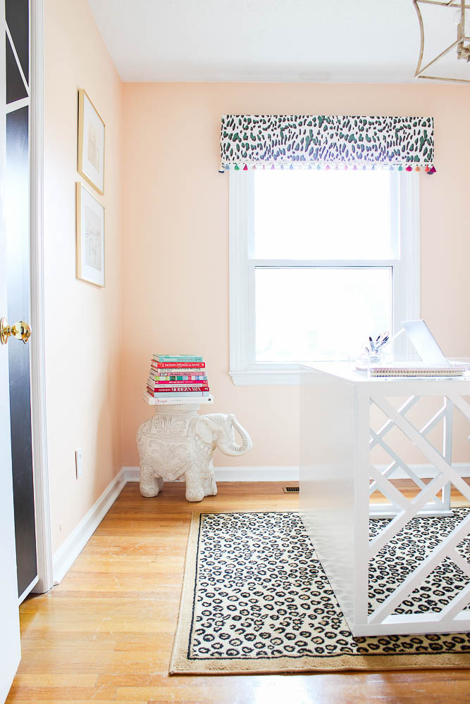 Home Office Makeover with Budget-Friendly DIY Projects - Peach walls, leopard prints, DIY Chippendale desk and more!