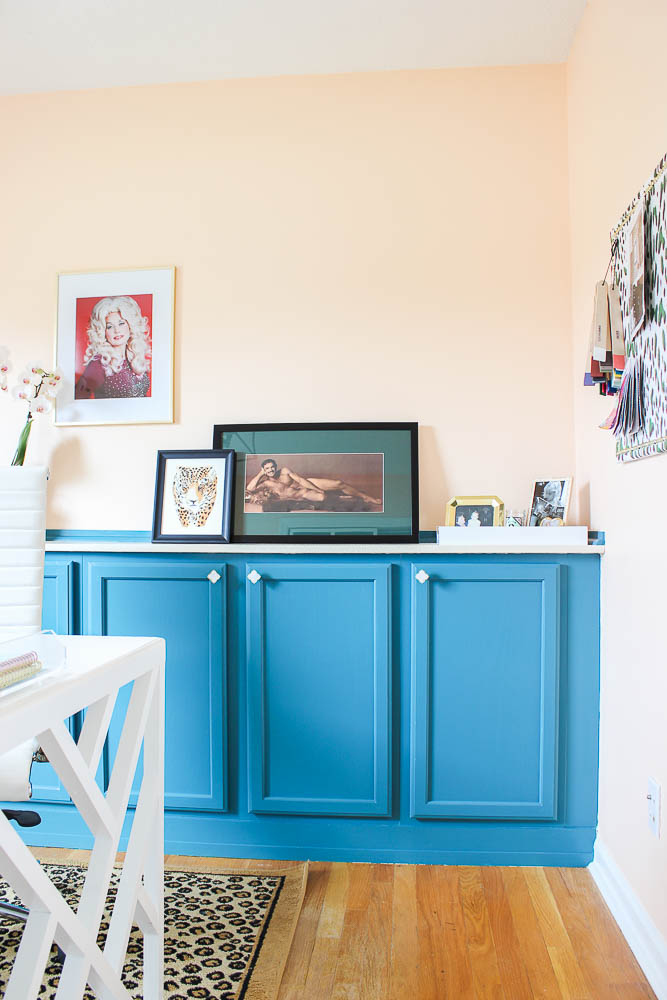 DIY Built In Office Cabinets - Blue Cabinets against Peach Wall - Rain on a Tin Roof