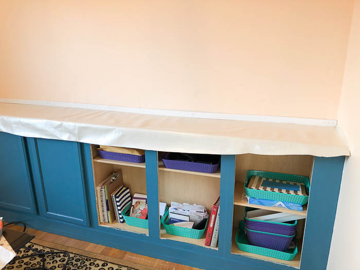 Upholstered Countertop for Built In Cabinets