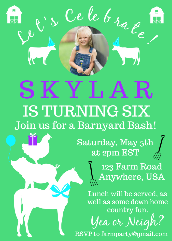 Farm Birthday Invitations Tutorial - fully customizable - Rain on a Tin Roof
