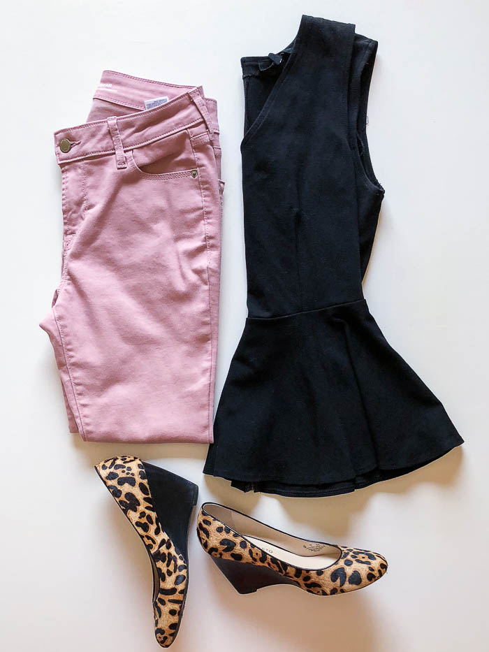 thredUP outfits - black peplum top with pink jeans and leopard print wedges - Rain on a Tin Roof