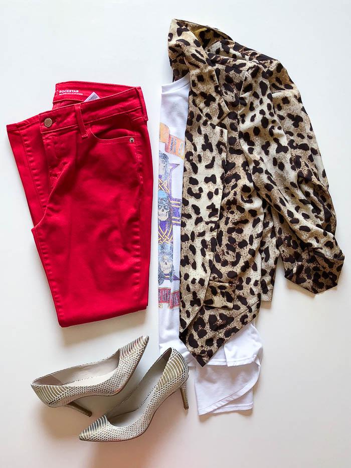thredUP clothes outfit ideas - leopard print blazer with Guns 'N Roses tee shirt and red jeans - Rain on a Tin Roof