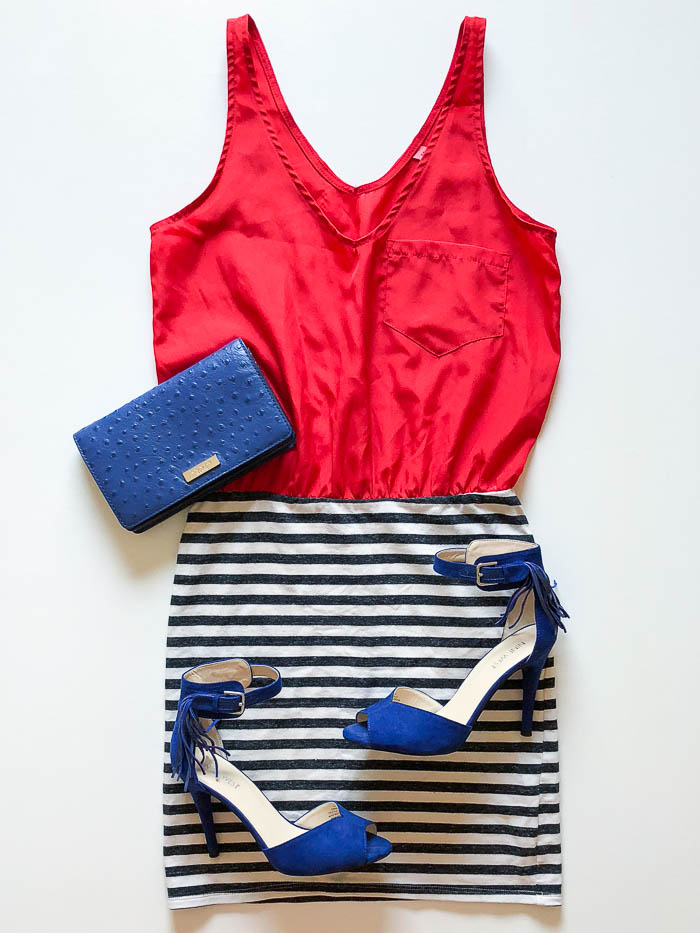Red tank dress with black and white skirt from thredUP - Rain on a Tin Roof