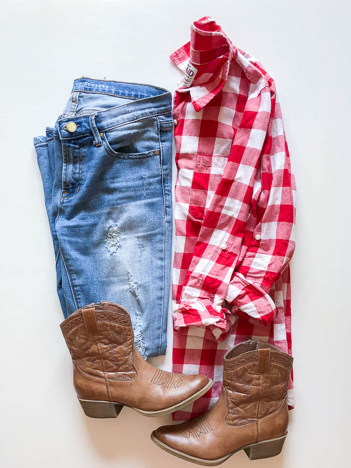 thredUP outfit ideas - red checked shirt and distressed jeans - Rain on a Tin Roof