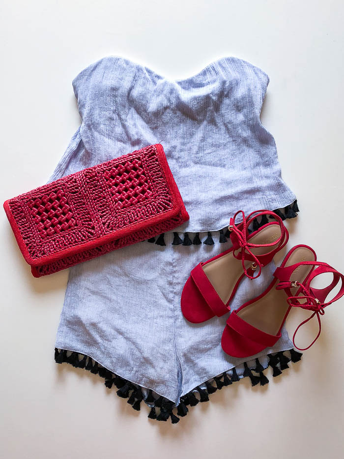Outfit using clothes from thredUP - romper - Rain on a Tin Roof