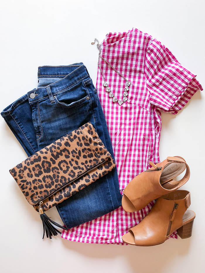 thredUP outfit - pink gingham peplum top and jeans - Rain on a Tin Roof