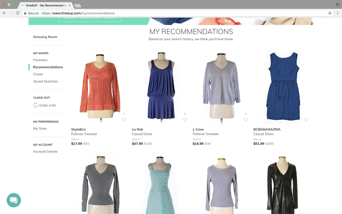 thredup reviews buying clothes - looking at recommendations - Rain on a Tin Roof
