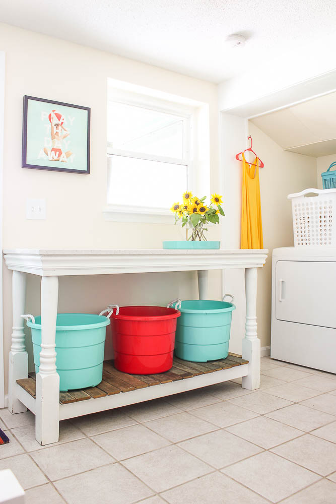 Mudroom Laundry Room Combination - workspace for folding clothes.