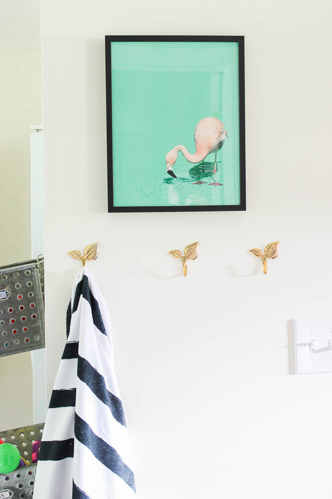 Mudroom Ideas - fun art, flamingo print.