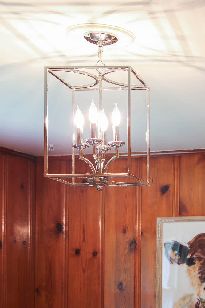 Polished Nickel Pendant Light in Knotty Pine Den - Rain on a Tin Roof