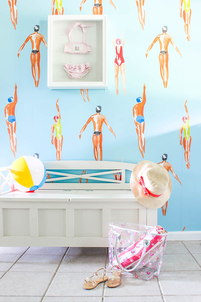 Mudroom Laundry Room Ideas - swimmers on wallpaper
