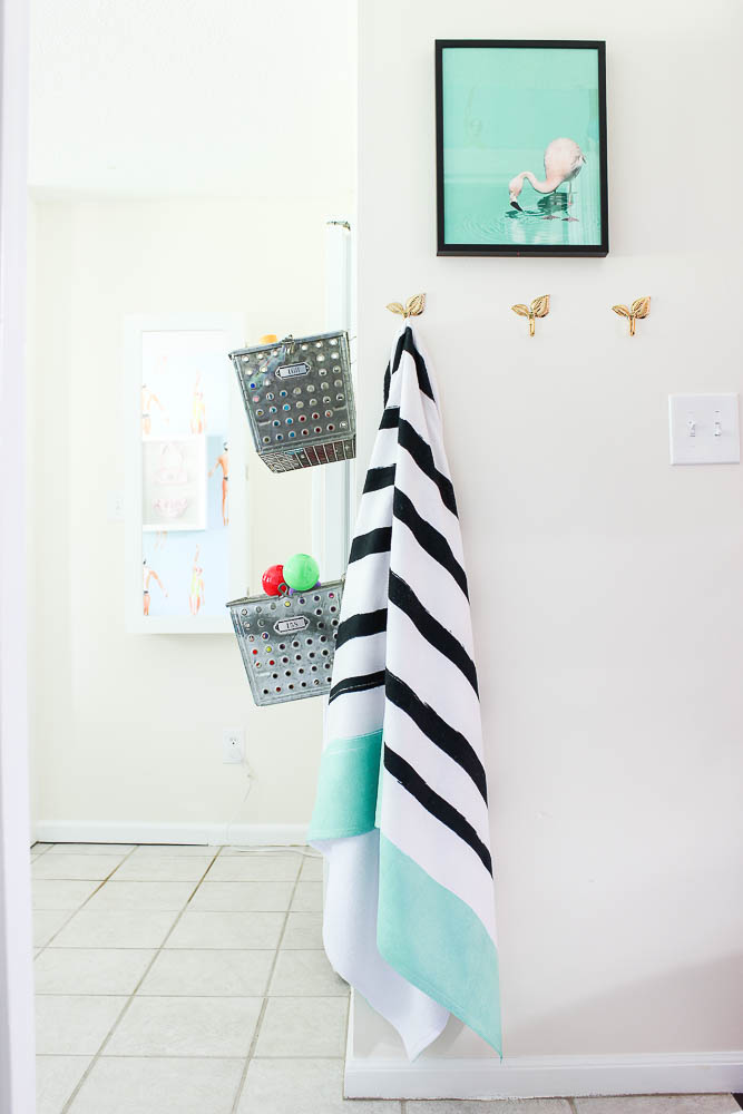 Laundry mudroom ideas - hook storage on walls.