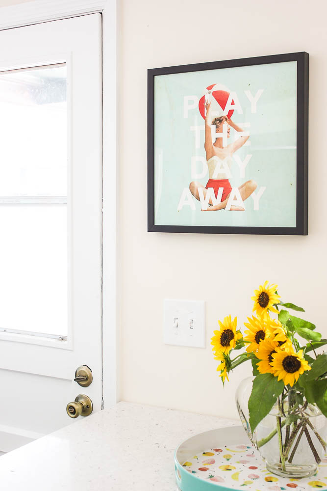 Mudroom Ideas - playful art, girl with a beach ball