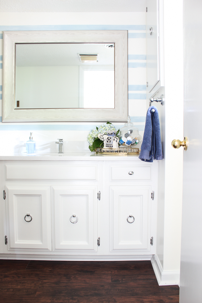 Blue Accent Wall in the Bathroom