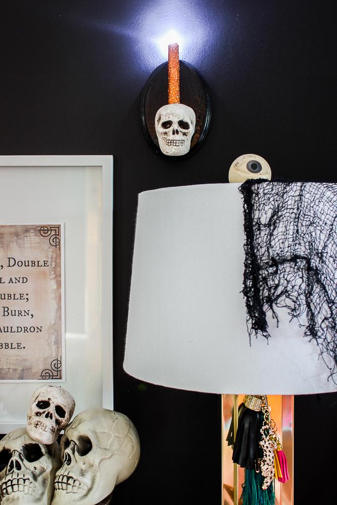 Cordless DIY Skull Sconce Halloween Decor