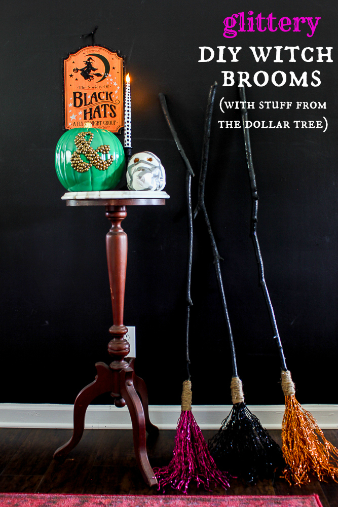 Glittery DIY Witch Brooms for Halloween