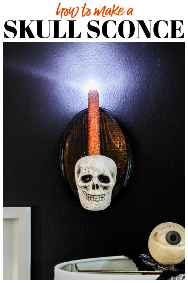 Easy DIY Skull Sconce for Halloween