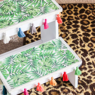 Easy Step Stool Makeover with Scrapbook Paper
