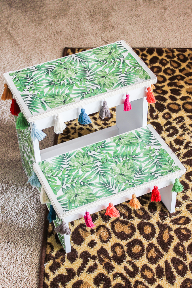 Step Stool Makeover with Mod Podge and Scrapbook Paper