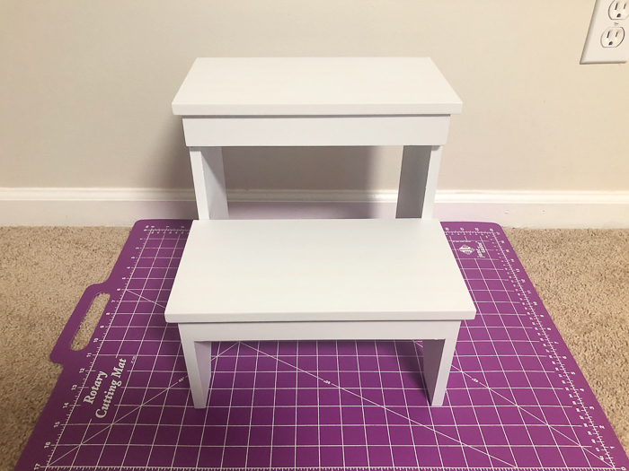 Step Stool Makeover using Scrapbook Paper and Mod Podge