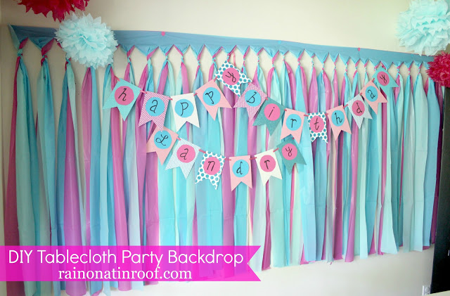 DIY Party Backdrop made with Plastic Tablecloths - pink and blue - Rain on a Tin Roof
