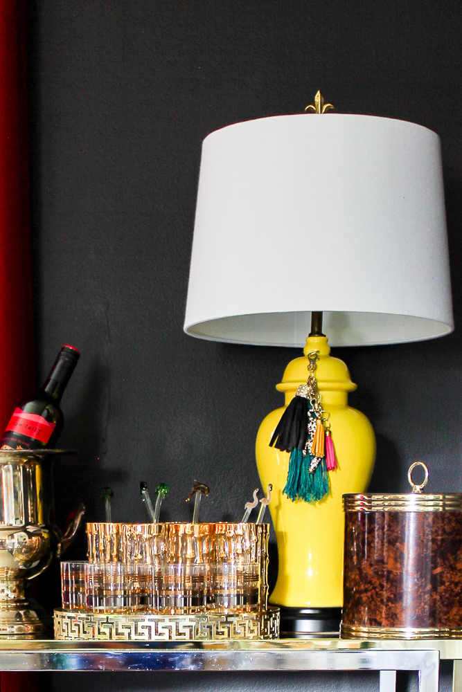 Yellow Lamp in Black and White Dining Room