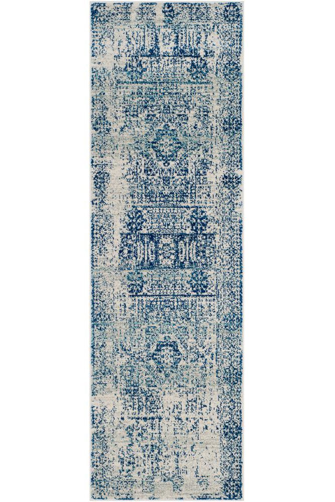 affordable rug runners - distressed blue and beige rug