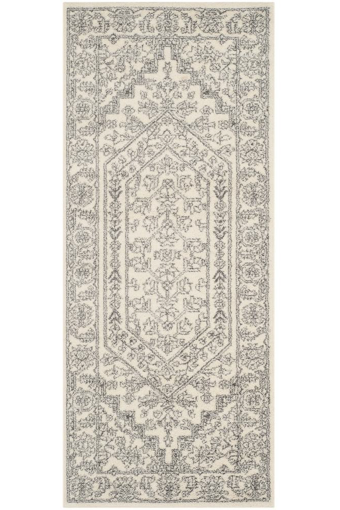 cheap hallway runners - gray and silver detailed pattern rug