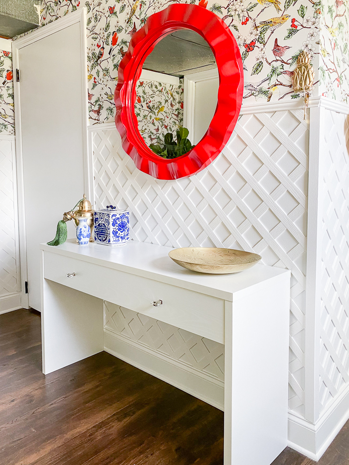 Lattice Wall Decor Ideas - used as wall moldings in a colorful mudroom.
