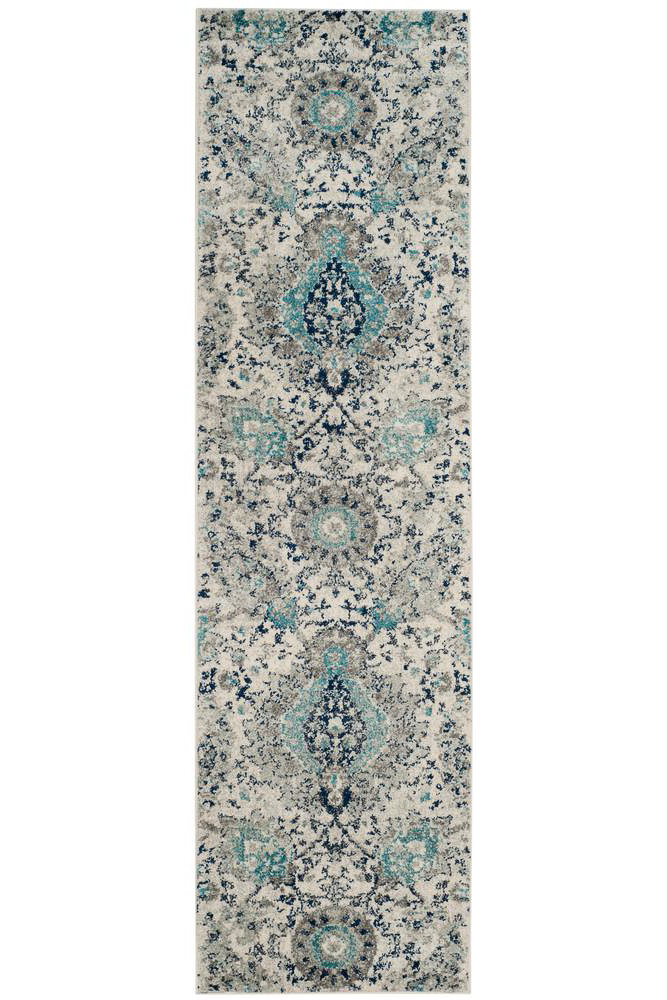 affordable hallway runners - beige and turquoise rug