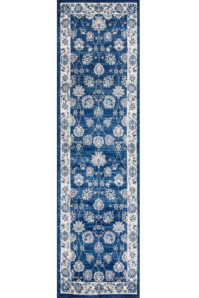 affordable traditional runner rug - blue and beige rug