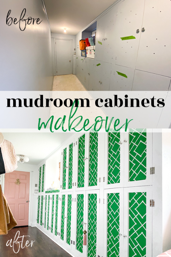 Mudroom cabinets with doors that have fabric accent panels on the front.
