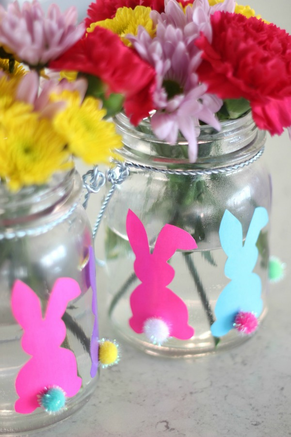 Crafts projects for when you're stuck at home - Easter bunny vases.