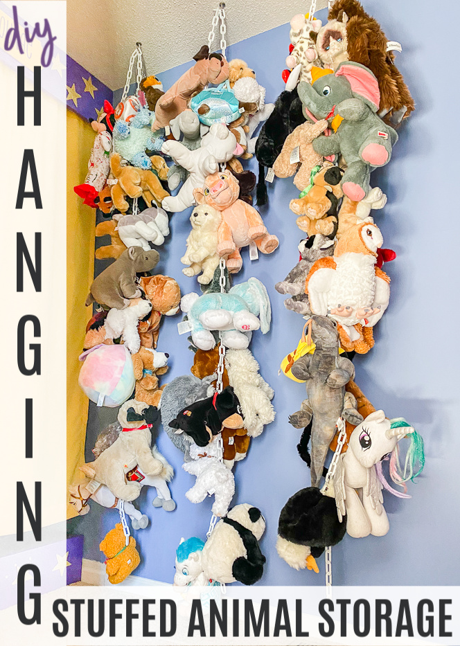 diy hanging stuffed animal storage from the ceiling - stuffed animals hung from the ceiling on chain.