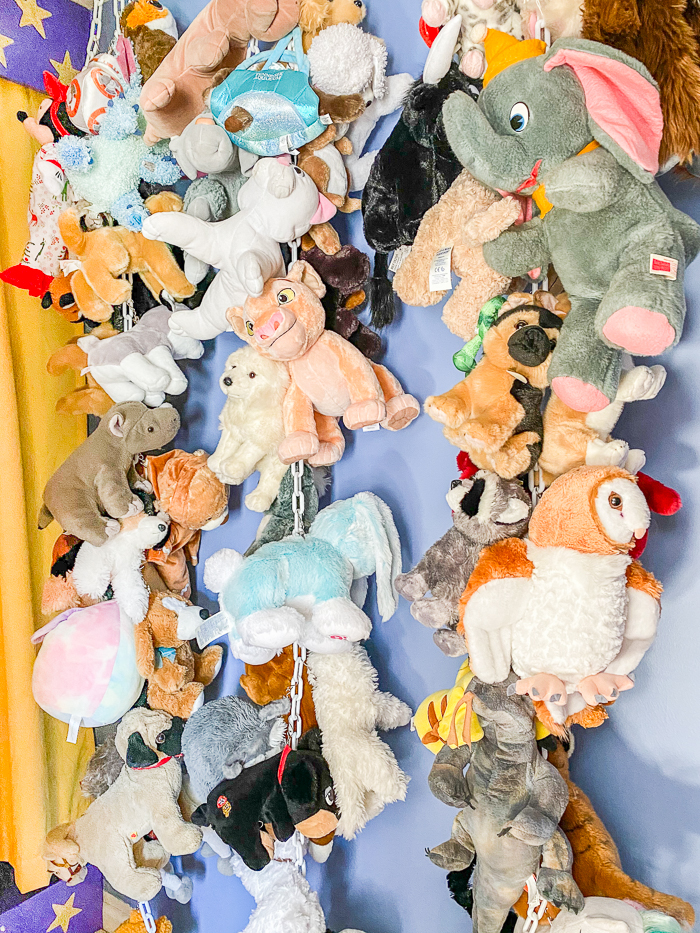 storing stuffed animals vertically by hanging chains from the ceiling