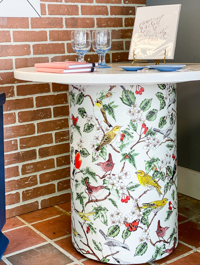 how to decoupage a table with wallpaper - bird wallpaper applied to base of white table