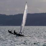 1 A 505 dinghy flies along