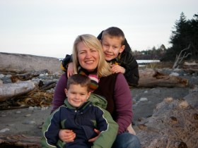 My boys and I on the Dungeness Spit in Sequim our first visit.