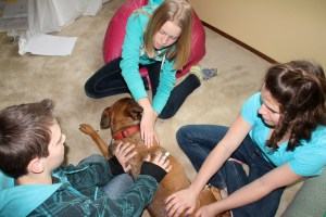 The feeling seemed to be mutual, Mandy loved the kids and the kids loved doing Reiki on Mandy.  She couldn't seem to get enough of it.