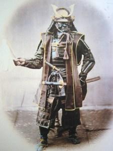 Samurai standing, circa 1860, hand painted