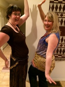 Me on the right with my Reiki Master/Teacher student, Amber.  Amber has taken belly dancing lessons for years so she helped me a lot.