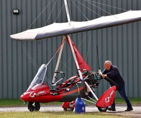 Red gyrocopter