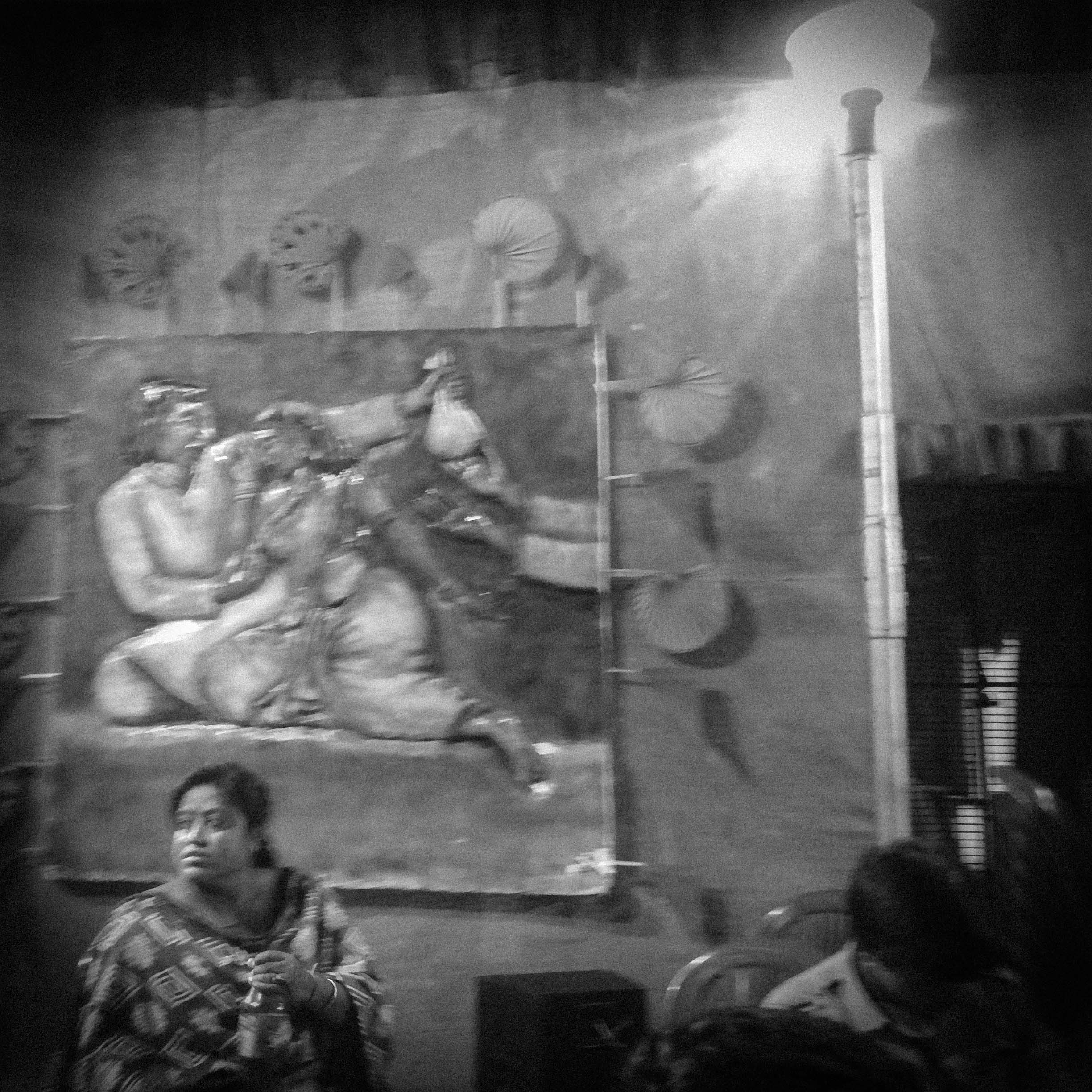The murals adorning this pandal marked the distinction of this puja from the numerous small and big marquees dotting the city's lanes and by-lanes: they depicted scenes of violation, exploitation and extortion that members of the community are subjected to in the public spaces of the city they belong to, sweat and toil in but cannot call their own, despite the Indian government's granting of a 'third gender' identity to them, in passports most of them do not own and have no use for.