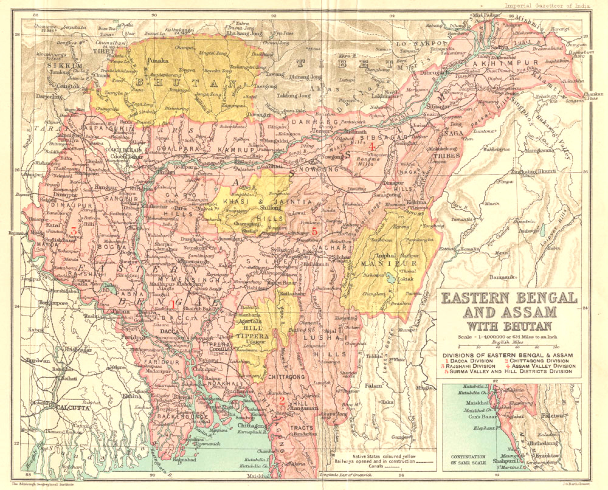 Map of Eastern Bengal and Assam with Bhutan - Imperial Gazetteer of India
