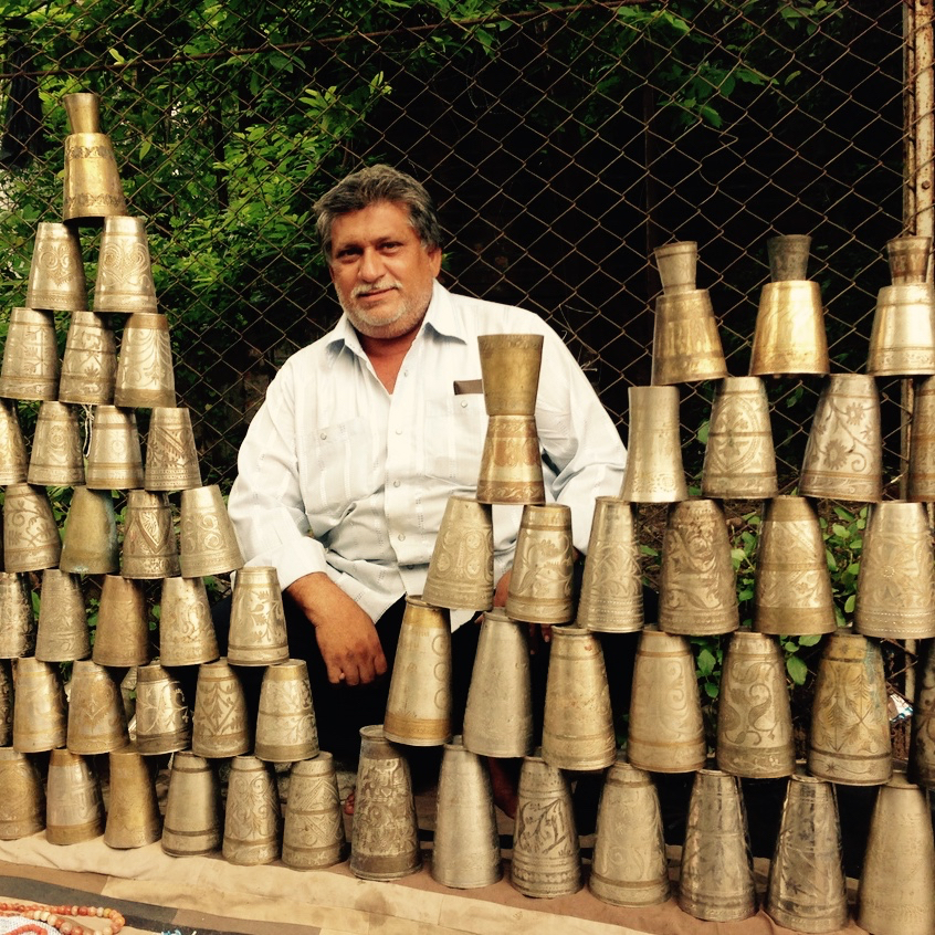 Old brass and German silver glass dealer on streets of #Ahmedabad