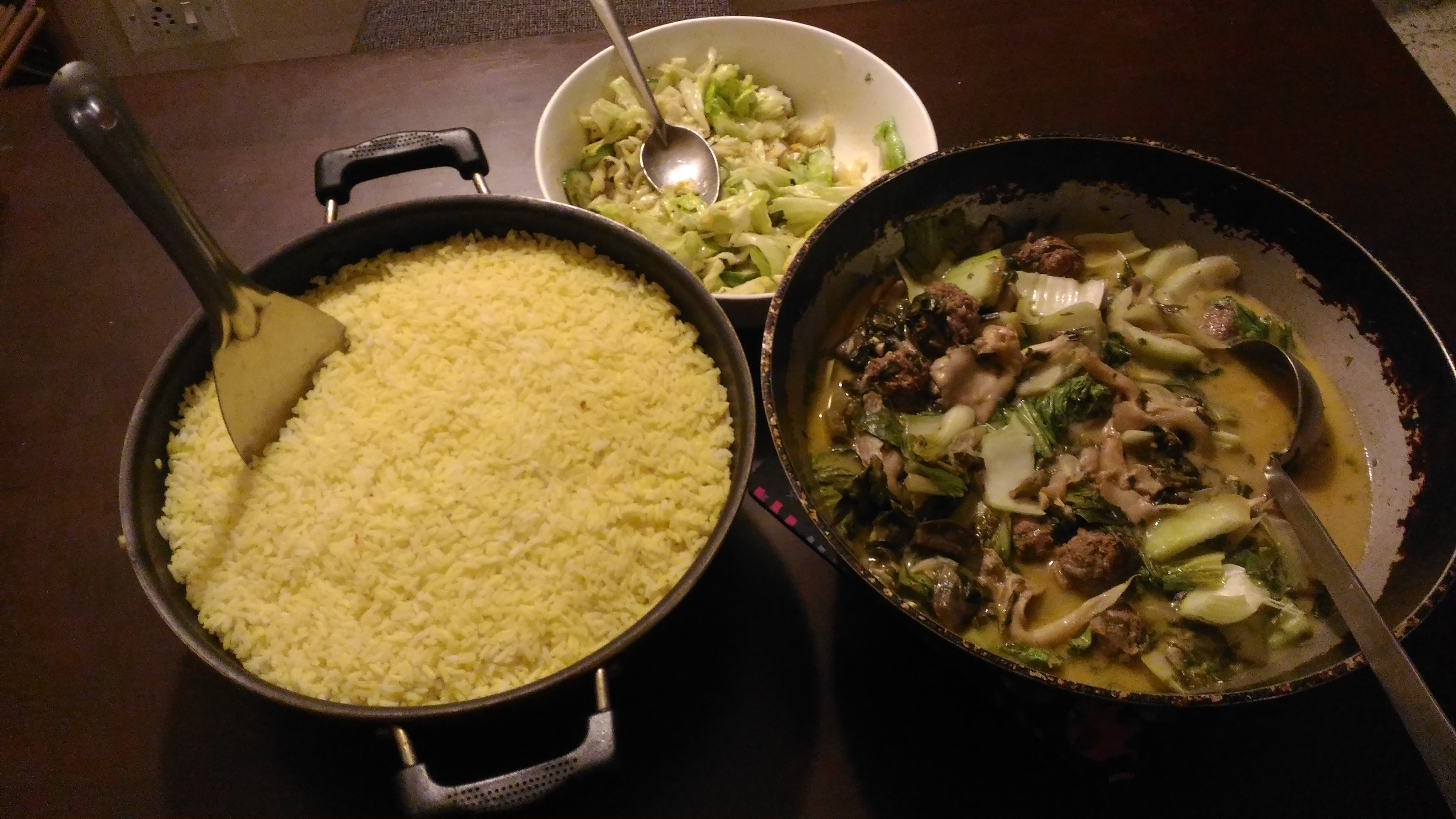 Hartman's thai meatball curry with coconut rice and stir fried salad Photo : Phoebe Pereira
