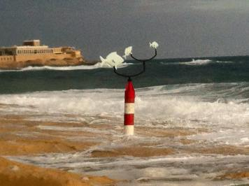 The wind vane (Pinnur) at Exiles Beach, Sliema, by the The Rubberbodies Collective (photo by The Rubberbodies Collective)