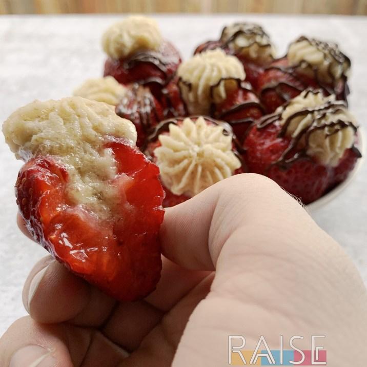 Gluten Free Vegan Cake Stuffed Strawberries by The Allergy Chef